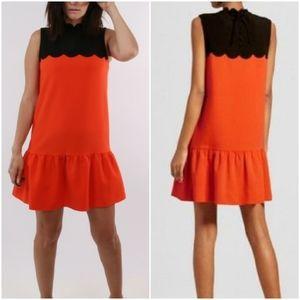Victoria Beckham scallop trim drop waist dress